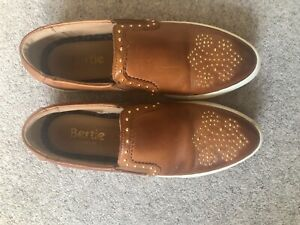 Bertie of London tan leather slip ons with gold detailing and white sole size 36