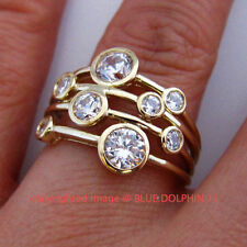 Simulated Stone Yellow Gold Band Fine Rings