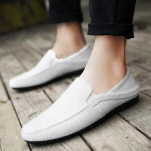 Mens  Linen Blend Casual Breathable Loafers Slip On Moccasins Flat Shoes Comfort