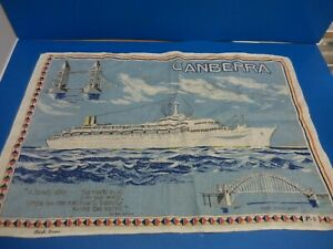 VINTAGE  P&O Canberra Irish Linen tea towel cruise ship liner