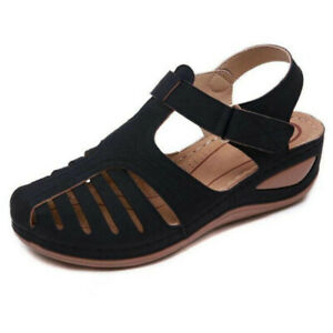 Womens Casual Wedge Heel Beach Slingback Sandals Strappy Outdoor Hiking Shoes