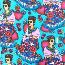 David Textiles Fabric FLEECE Folk Frida Turquoise HALF METRE Kahlo Soft Backing