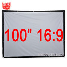 """100""""16:9 White Canvas Portable Projection Screen to Home Theater Movie Projector"""