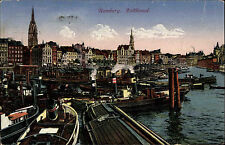 Schiffe Seefahrt 1922 Schlepper Frachtschiffe Hafen Hamburg am Zollkanal color