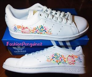 🔥 Adidas Originals STAN SMITH Women's Sneakers Lifestyle Tennis Shoes FLORAL 🌺