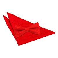 Red Mens Pre-Tied Bow Tie Hanky Wedding Set Woven Floral Paisley by DQT