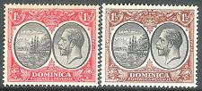 Dominica 1923 black/scarlet 1.5d black/brown 1.5d mint SG74/75