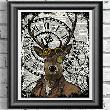 Stag Steampunk Deer Vintage Dictionary Page Print Steampunk Wall Art Picture