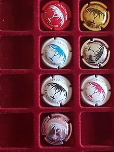 Tres rare série complète 7 capsules de champagne flûtes  Daniel Thibaut