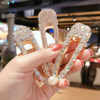 Women Crystal Pearl Hair Clip Snap Barrette Stick Hairpin Hair Accessories