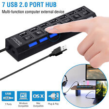 7 Port Powered USB 2.0 Hub On/Off Switches Splitter AC Adapter Cable PC Laptop