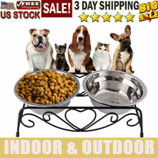 New listing Double Bowls For Pet Dog Cat Puppy Food Water Feeder Feeding Dish Raised Us Qy