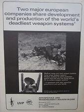 7/71 PUB UVP EUROMISSILE AEROSPATIALE MBB ROLAND AIR DEFENSE MILAN ANTI TANK AD