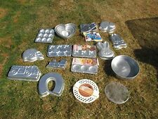 MIXED LOT 17 WILTON CAKE PANS SOME NEW FOOTBALL HELMET HORSESHOE CLOVER HEARTS