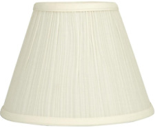 Bell Lamp Shade Cream Fabric Mushroom-Pleated Clip-On Fitter Transitional Style