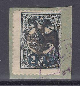 Albania Mi 8 used 1913 2pi on small piece, Cert