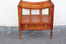 Lovely English Mahogany Magazine Stand Canterbury With Drawer, c. 1920