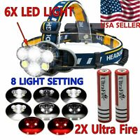 250000LM 5X T6 LED Rechargeable Headlamp Head Light Flashlight Torch Lamp USA