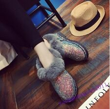 New Women Ankle Boots Fur Trim Furry Flats Glitter Sequins Casual Snow Shoes