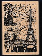 MOUNT RUSHMORE EIFFEL TOWER Vacation COLLAGE Inkadinkado TRAVEL Rubber Stamp