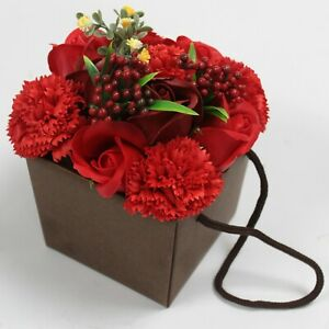Soap Flower Bouquet - Red Rose & Carnation Luxury Soap Flowers,Beautifully Gift