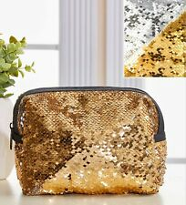 Metallic Gold to Silver Sequin Cosmetic Bag 7x2.5x6 Zippered Nip