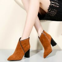 Plus Size Women Side Zip Suede Ankle Boots Pointed Toe High Heel Fashion Booties