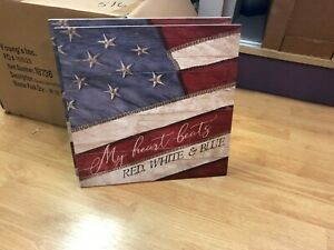 MY HEART BEATS RED, WHITE AND BLUE PATRIOTIC WOODEN SIGN USA MADE