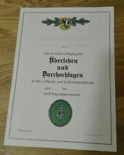 """URKUNDE Lehrgang """"Überleben und Durchschlagen"""" Bundeswehr LL-Schule"""