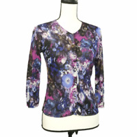 Cache Floral Button-Down Cardigan Sweater Size M Thin Knit 3/4 Sleeve Women's