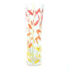 Murano Glass Vase Red Orange Yellow Flower Hand Made Millefiori 19cm High