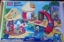 MEGA BLOKS - THE SMURFS - SMURF'S BEACH - #10755 - 99 PCS - BNIP, MINT & VHTF!!!