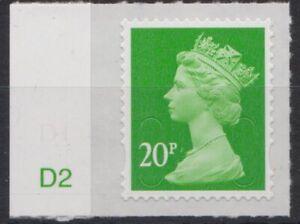 z3970) Great Britain - Machins. 2016. MNH.  SG u2924 20p M16L  Cyl D2 Tab