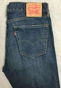 Levis 505 Regular Straight Denim Jeans Mens W36 L34 Dark Blue Red Tab