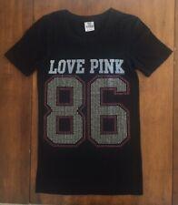 Womens VICTORIAS SECRET PINK SHORT SLEEVE T SHIRT Love Pink 86 BLACK Beaded XS