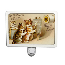 Vintage Style Ad Sewing Thread for Hand and Machine Cat and Kittens Night Light