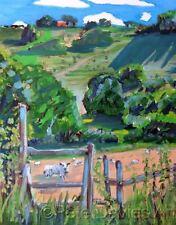 """NEW PETE DAVIES ORIGINAL """"West Sussex Sheep"""" SUSSEX FARM OIL LANDSCAPE PAINTING"""