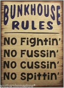 Bunkhouse Rules Primitive Country Distressed Canvas Sign Home Decor