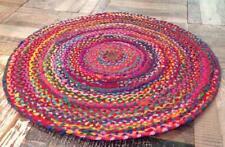 Indian Handmde Cotton Round Floor Rug 9x9 Feet Yoga Mat Multi Color Area Rug
