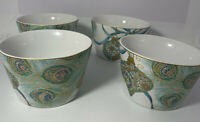 222 Fifth Lakshmi Peacock Holiday Bowls Set Of 4 NEW