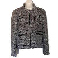 J. Crew Women's Sz 10 Gray Tan Brown Metallic Tweed Boucle Jacket Blazer Zipper