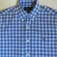 Ralph Lauren Mens Blue & White Plaid Check Multicolor Logo L/S Shirt Small S