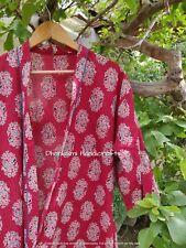 Cotton Nightwear Women's Indian Kimono Ajrakh Print Robe Gown Maxi Dress