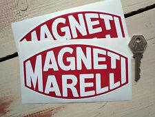 """MAGNETI Marelli Clásico Rally Coche De Carreras Pegatinas 6"""" Par Blanco en Rojo carrera"""