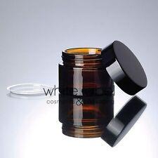 50G BROWN GLASS CREAM COSMETIC JAR BLACK LID WHOLESALE- NEW 50PCS/LOT