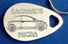 Personalised NISSAN MICRA 3 DOOR 2003-10 key ring ANY NAME engraved aluminium