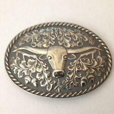 Sterling Silver Longhorn Steer Buckle, 3 1/2 Inch.