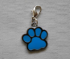 Clip on bracelet charm BLUE DOGS PAW silver plated clasp enamel charm