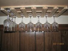 "18 wine glass stemware holder 9"" deep under cabinet rack wood"