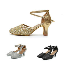 Women Latin Dance Shoes Heeled Sequins Ballroom Salsa Tango Dancing Shoes